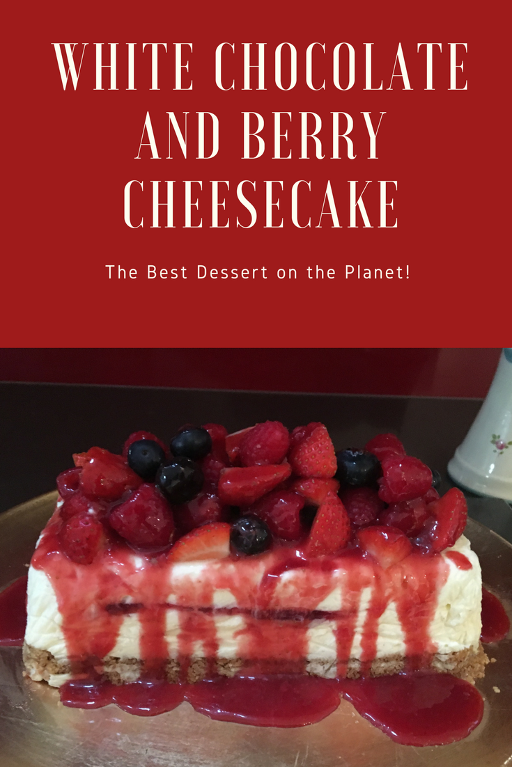 no cook cheesecake, white chocolate and berry cheesecake, dinner party dessert, vanilla cheesecake