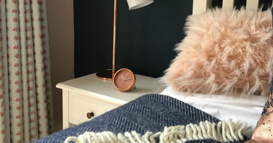 blush pink navy and rose gold bedroom teenage girl