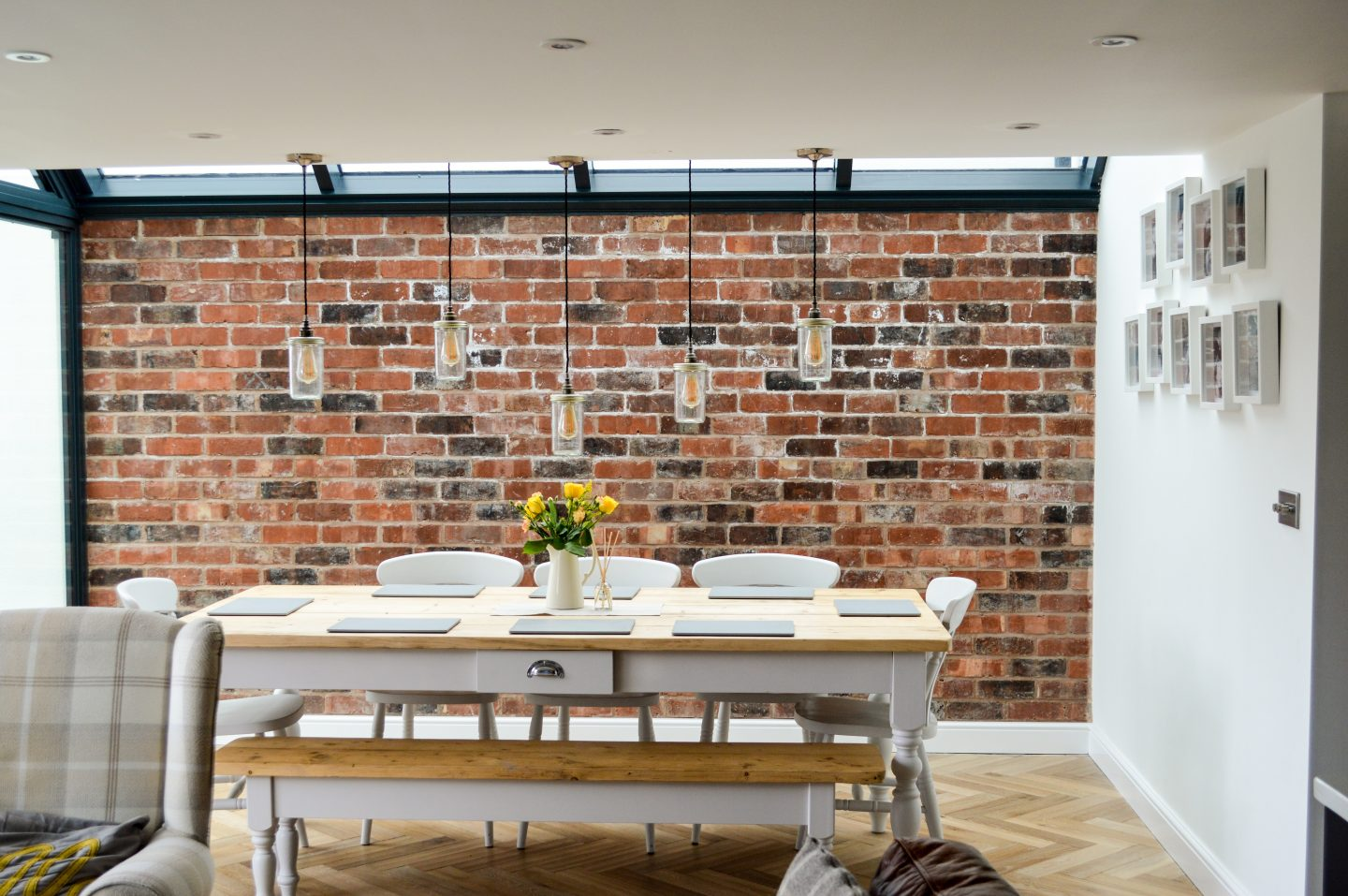 exposed brick wall in kitchen