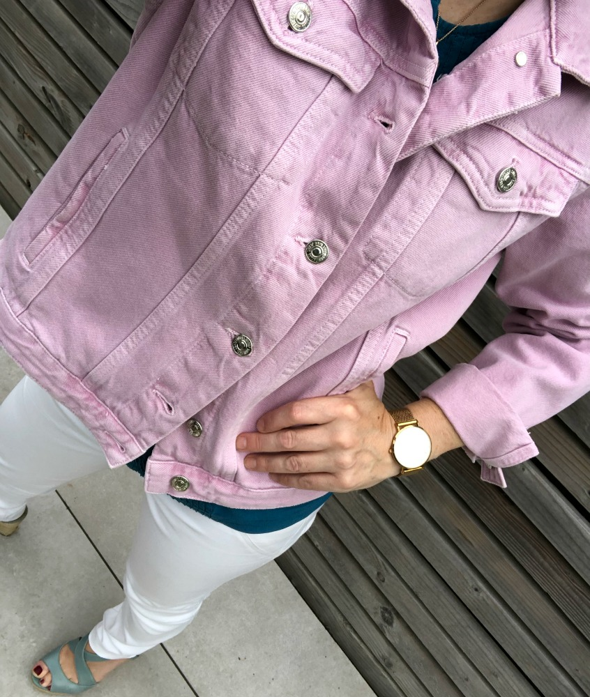 pink denim jacket mango