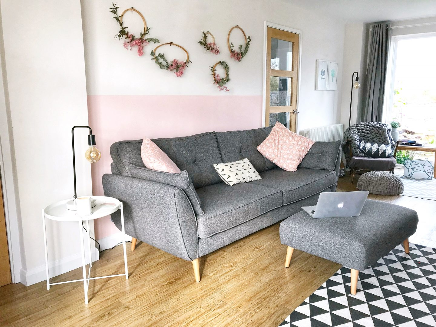 blush pink in living room