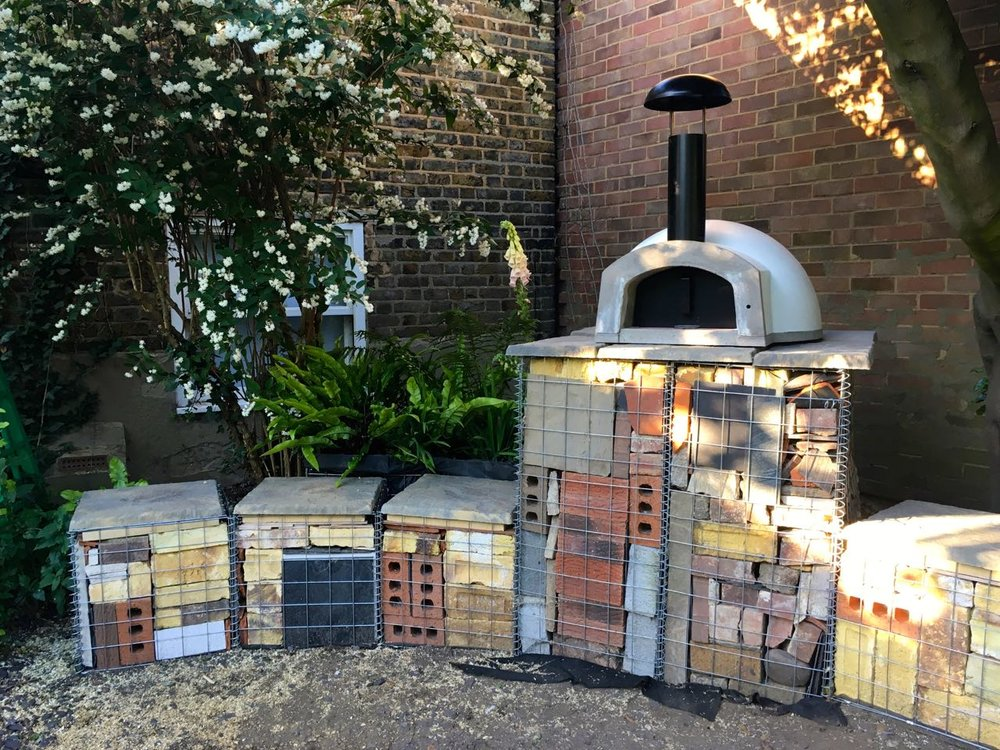 pizza oven gabion baskets