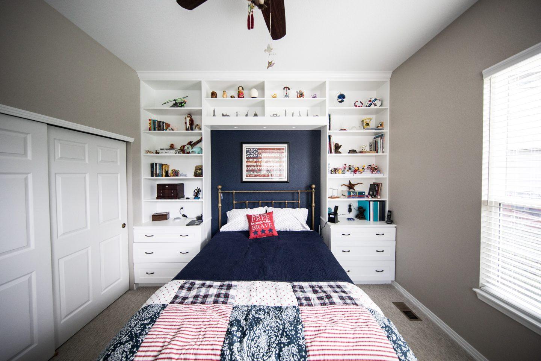 Shelving arrangement around a bed